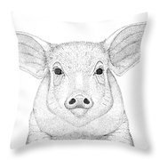 Farm Pig In Pointillism Throw Pillow