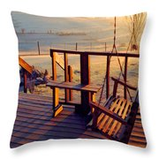 Farm Porch Morning Throw Pillow