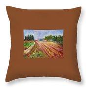 Farm Rows Throw Pillow