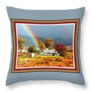 Farm Scene With Rainbow After Some Rains L A With Decorative Ornate Printed Frame. Throw Pillow