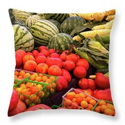 Farm To Market Produce - Melons, Corn, Tomatoes Throw Pillow