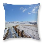 Farm Track To Round Law And King's Seat Throw Pillow