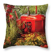Farm - Tractor - A Pony Grazing Throw Pillow by Mike Savad