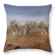 Farm With Cows  Throw Pillow