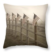 Farm With Fence And American Flags Throw Pillow