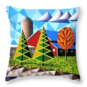 Farm With Three Pines And Cow Throw Pillow