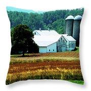 Farm With White Silos Throw Pillow