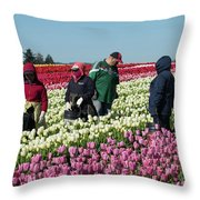 Farm Workers In Tulips Throw Pillow