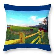 Farm Yard Fence Throw Pillow