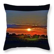 Farmer And A Sunset. Throw Pillow