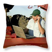 Farmer With Laptop And Cell Phone Throw Pillow