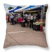 Farmers Market Before The Crowd Throw Pillow