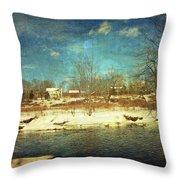 Farmhouse Across The River Throw Pillow