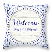 Farmhouse Blue And White Tile 6 - Welcome Family And Friends Throw Pillow