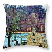 Farmhouse By The Lake Throw Pillow