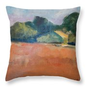 Farmhouse In Red Field Throw Pillow