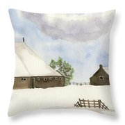 Farmhouse In The Snow Throw Pillow