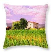 Farmhouse In Tuscany Throw Pillow