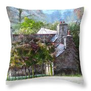 Farmhouse On A Cold Winter Morning. Throw Pillow