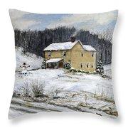 Farmhouse Snowman Throw Pillow