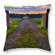 Farmhouse Sunrise - Arkansas - Landscape Throw Pillow