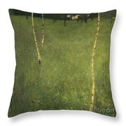 Farmhouse With Birch Trees Throw Pillow by Gustav Klimt
