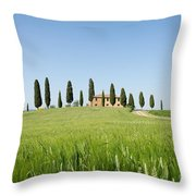 Farmhouse With Cypress Trees And Crops In Tuscany Throw Pillow