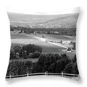 Farming Panorama Finger Lakes New York Bw Throw Pillow