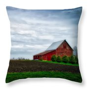 Farming Red Barn On A Quite Spring Day Throw Pillow