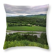 Farmland View Over The Connecticut River  Throw Pillow