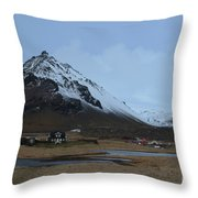 Farms At The Base Of Mt Stapafell In Iceland Throw Pillow