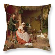Farmyard Scene Throw Pillow by Jan David Cole