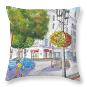 Farola With Flowers In Wilshire Blvd., Beverly Hills, California Throw Pillow
