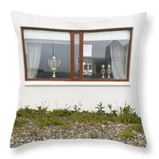 Facade - A Window With A Trophy To Show Throw Pillow