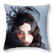 Fascinating Makeup Woman In High Fashion Hat  Throw Pillow