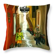 Fashion Alley In Bologna Throw Pillow by Milagros Palmieri