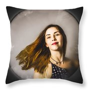 Fashion And Makeup Woman At Beauty Salon Store Throw Pillow