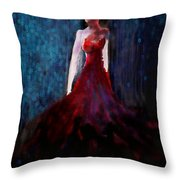Fashion Illustration Red Throw Pillow