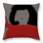 Fashion Pixel Lady Throw Pillow