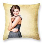 Fashionable Girl In Classic 50s Style Clothing Throw Pillow