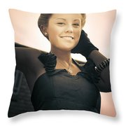 Fashionable Wealthy Woman Throw Pillow