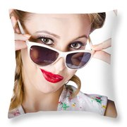 Fashionable Woman In Sun Shades Throw Pillow