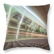 Fast Moving Long Exposure Of Subway Train Underground Tunnel Throw Pillow