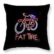 Fat Tire Neon Sign Throw Pillow