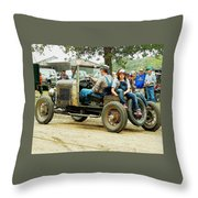 Father And Daughter In The Tractor Parade Throw Pillow