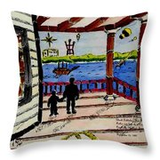 Father And Son On The Porch Throw Pillow