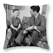Father And Son Talking And Smiling Throw Pillow