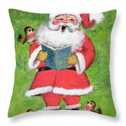 Father Christmas And Robin Chorus Throw Pillow