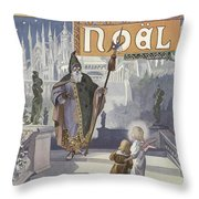 Father Christmas Meeting A Young Child Who Is Accompanied By An Angel Throw Pillow