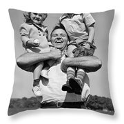 Father Holding Children, C.1930s Throw Pillow